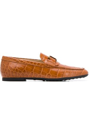 Tod's Monogram-appliqué leather loafers