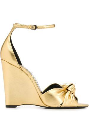 Saint Laurent 95mm knot wedge sandals