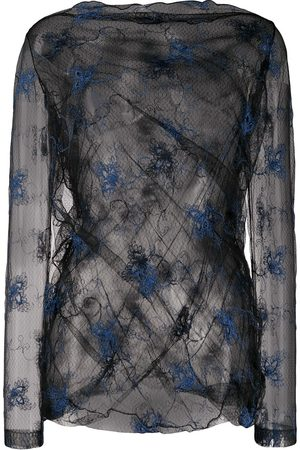 ROMEO GIGLI Dames Blouses - SS 1990 embroidered sheer blouse