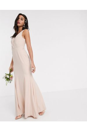 ASOS Bridesmaid button back maxi dress with pleated bodice detail-Pink