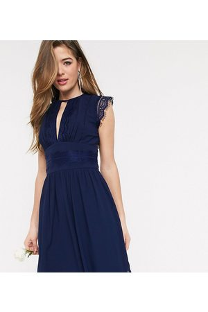 TFNC Bridesmaid lace detail mini dress in navy-Blue