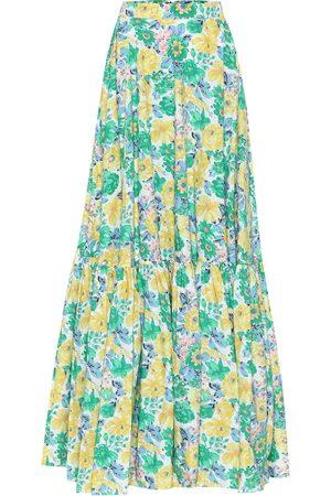 Plan C Dames Midi rokken - Floral cotton maxi skirt