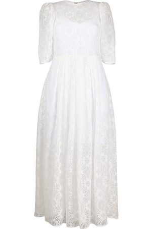 Msgm Puff-sleeved lace A-line dress