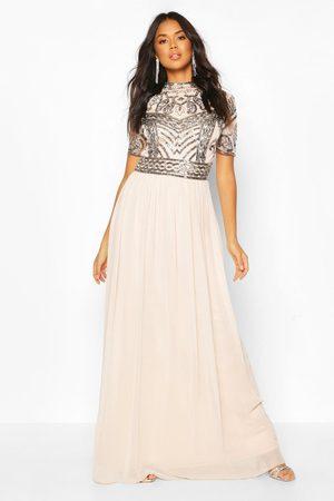 Boohoo Bridesmaid High Neck Hand Embellished Maxi Dress