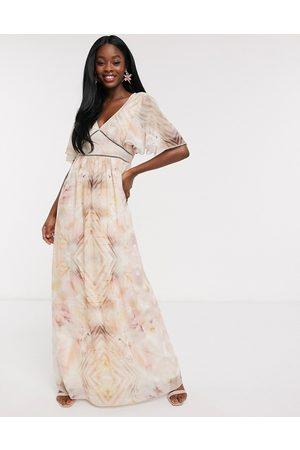 Little Mistress Flutter sleeve maxi dress in marble print-Multi