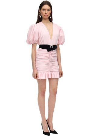 MARIANNA SENCHINA Crepe Mini Dress W/ Puff Sleeves
