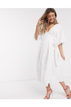 ASOS Puff sleeve wrap midi dress in textured dobby in ivory-White
