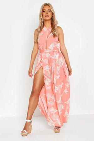 Boohoo Dames Geprinte jurken - Plus Printed Halter Neck Maxi Dress
