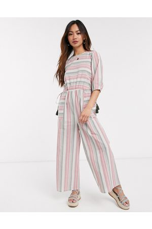 ASOS Puff sleeve jumpsuit with tie sides in stripe linen-Multi