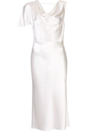 FLEUR DU MAL Dames Asymmetrische jurken - Asymmetric silk midi dress