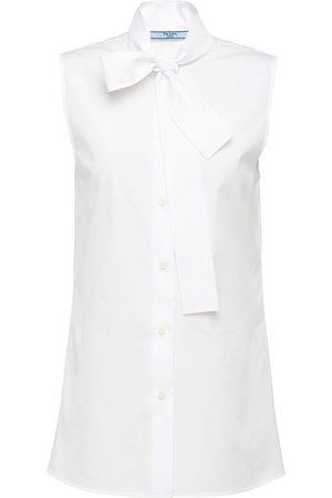 Prada Sleeveless pussy-bow blouse