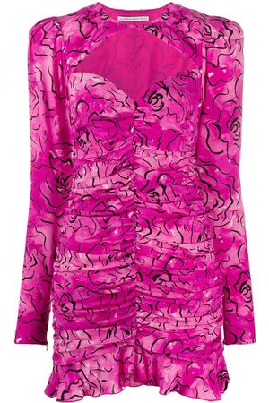 Alessandra Rich Ruched abstract print dress