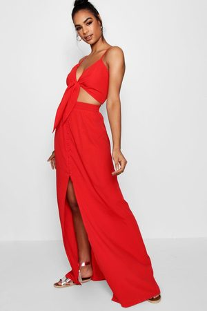 Boohoo Tall Tie Front Top + Maxi Skirt Co-Ord