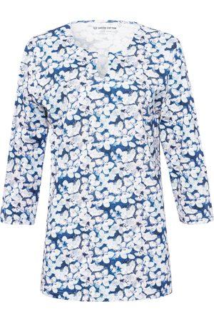 Green Cotton Dames T-shirts - Shirt van 100% katoen V-hals en bloemenprint multicolour