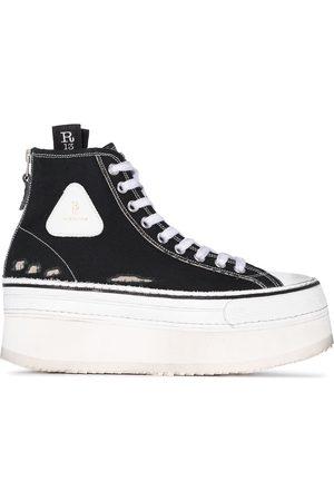 R13 Distressed platform high-top sneakers