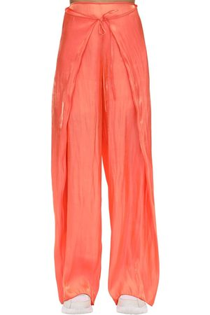 Kenzo Belted Wide Leg Satin Pants