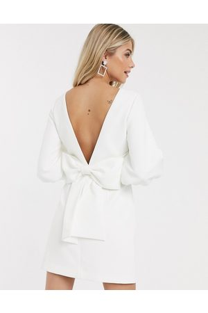 Forever New Bow back mini dress in ivory-Cream