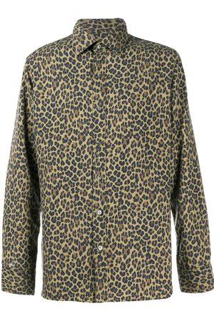 Tom Ford Heren T-shirts - Leopard-print silk shirt