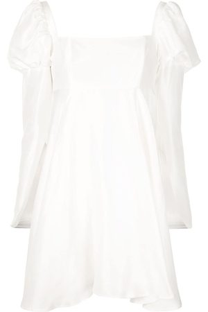 Macgraw Puff-shoulder flared dress