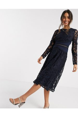 ASOS Long sleeve midi prom dress in lace with circle trim details in navy