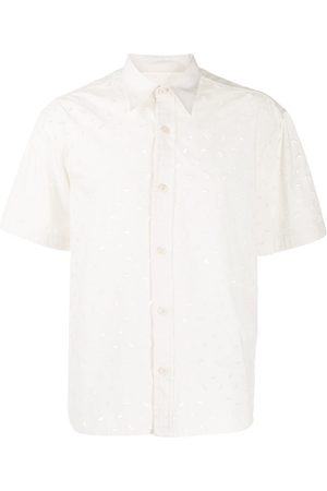 Ami Embroidered cut-out short-sleeve shirt