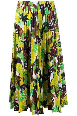VALENTINO Leaf-print pleated skirt
