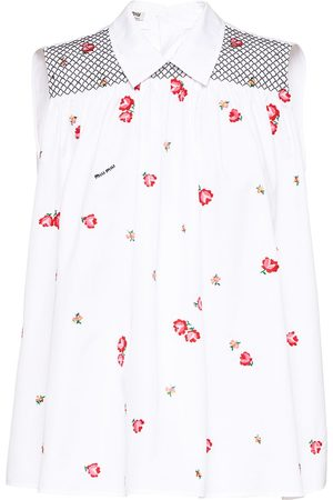 Miu Miu Dames Tanktops - Floral-embroidered sleeveless blouse