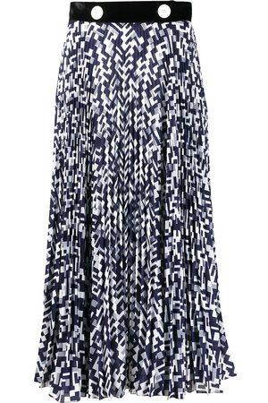 Prada Geometric print pleated midi skirt