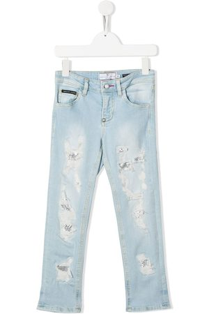 Philipp Plein Distressed straight-leg jeans