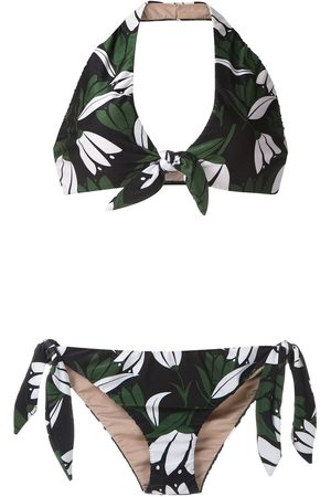 Adriana Degreas Printed halter neck bikini set