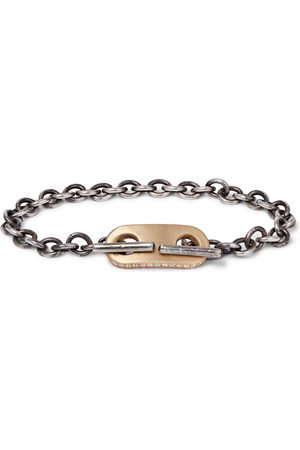 M. COHEN 18-karat Gold And Sterling Diamond Id Bracelet