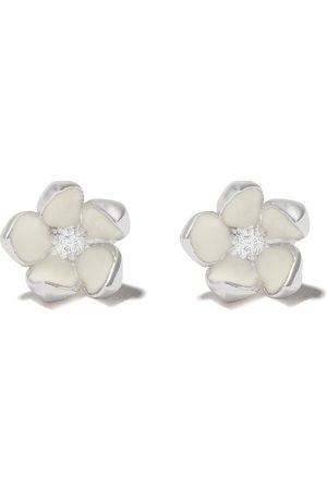 SHAUN LEANE Silver Cherry Blossom diamond flower earrings