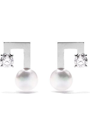 Tasaki 18kt white gold petit Balance Note Collection Line Akoya pearl and diamond stud earrings