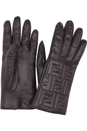 Fendi Leather FF embossed gloves