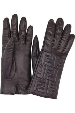 Fendi Leather FF embossed gloves