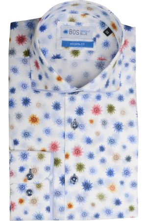 Bos Bright Blue Blue overhemd met print multicolor bos 5-13/000004