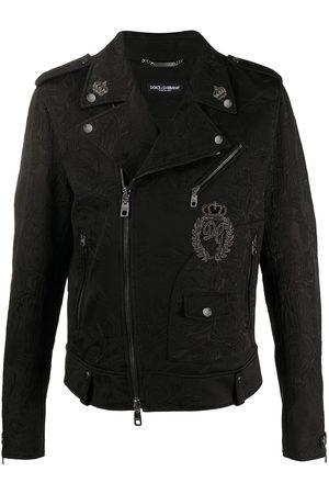 Dolce & Gabbana Floral brocade patch biker jacket