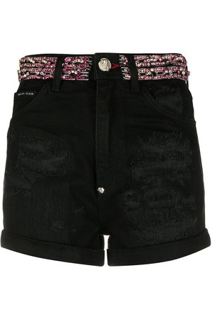Philipp Plein Crystal embellished denim shorts