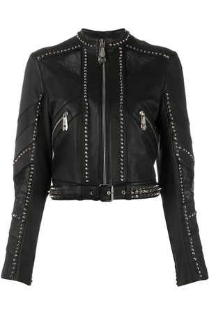 Philipp Plein Studded cropped biker jacket