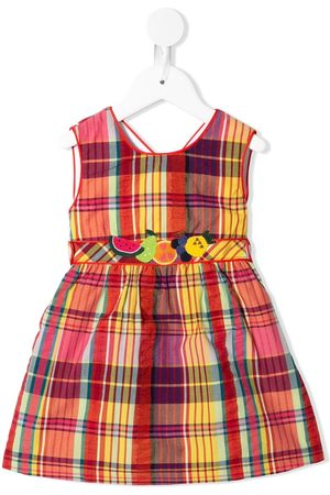 Familiar Check-print embroidered dress
