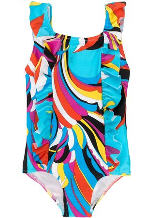 Emilio Pucci Junior Ruffled abstract-print swimsuit