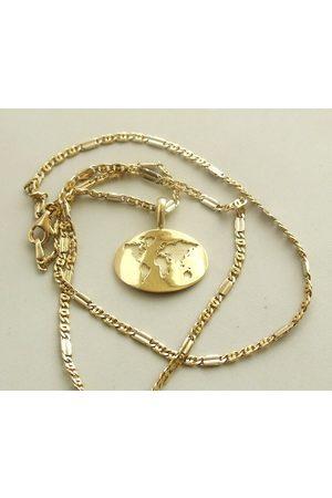 Christian Gouden collier met wereldkaart hanger