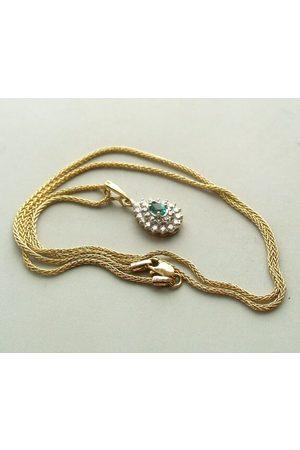 Christian Dames Kettingen met hanger - Gouden collier en hanger met smaragd en diamant