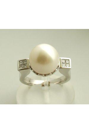 Christian Diamanten ring met parel