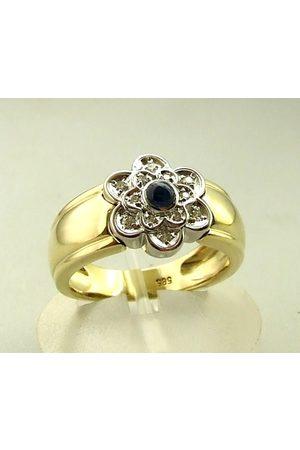 Christian Gouden saffieren en diamanten ring