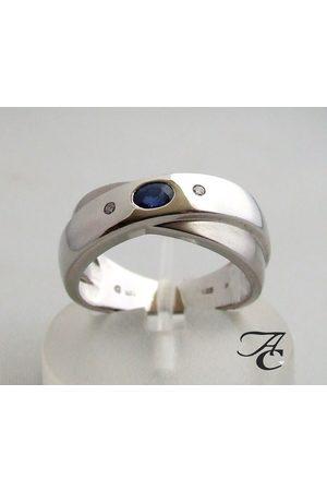 Atelier Christian Ring met saffier en twee diamanten