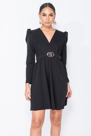 Parisian Puffed sleeve wrap front mini dress