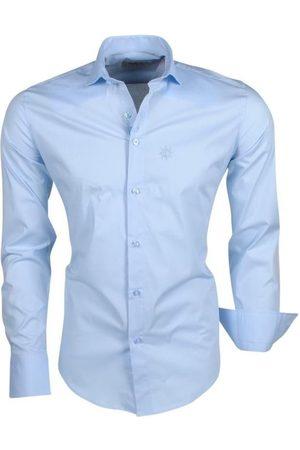 Ferlucci Heren Overhemden - Trendy italiaans effen heren overhemd napoli ice blue