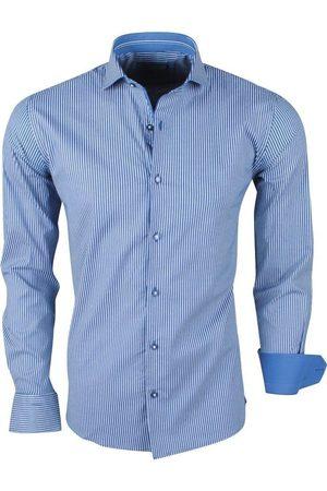Enrico Polo Heren Overhemden - Heren overhemd stretch gestreept navy