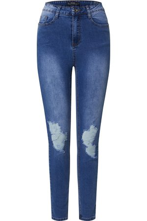 Missguided Dames High waisted - Jeans 'SINNER DISTRESS KNEE CUT HEM HIGH WAISTED SKINNY JEAN